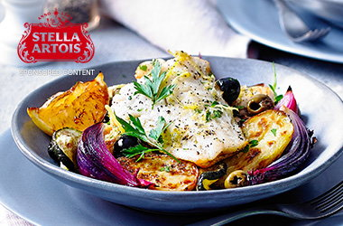 Cod with lemon and olives
