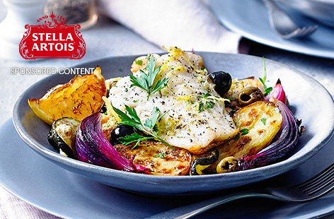 This colourful cod recipe, with fresh citrus flavours and plenty of caramelised roasted veg, makes a delicious stress-free meal for two. Crispy roast potatoes, soft courgettes and tangy olives are the perfect base for the flaky cod.