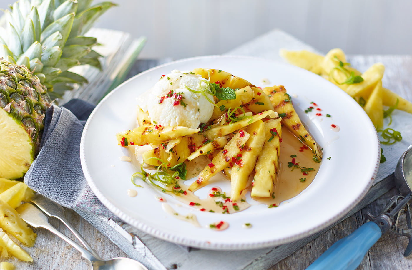 Sticky chilli pineapple with piña colada ice cream recipe