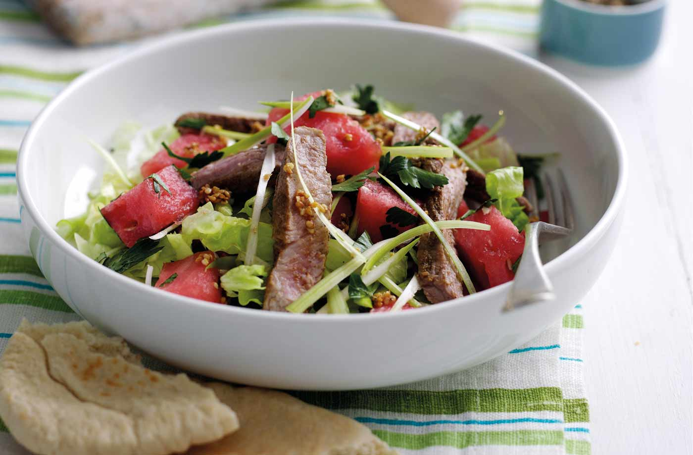 Sticky lamb, sesame and watermelon salad recipe