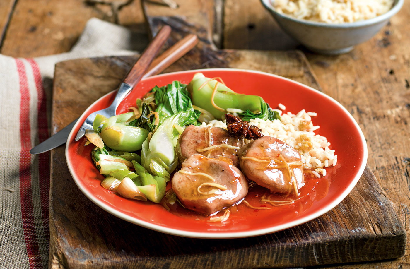 Sticky plum pork with stir-fried veg and rice