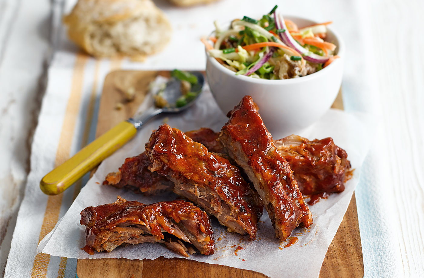 Sticky ribs with crunchy autumn coleslaw recipe