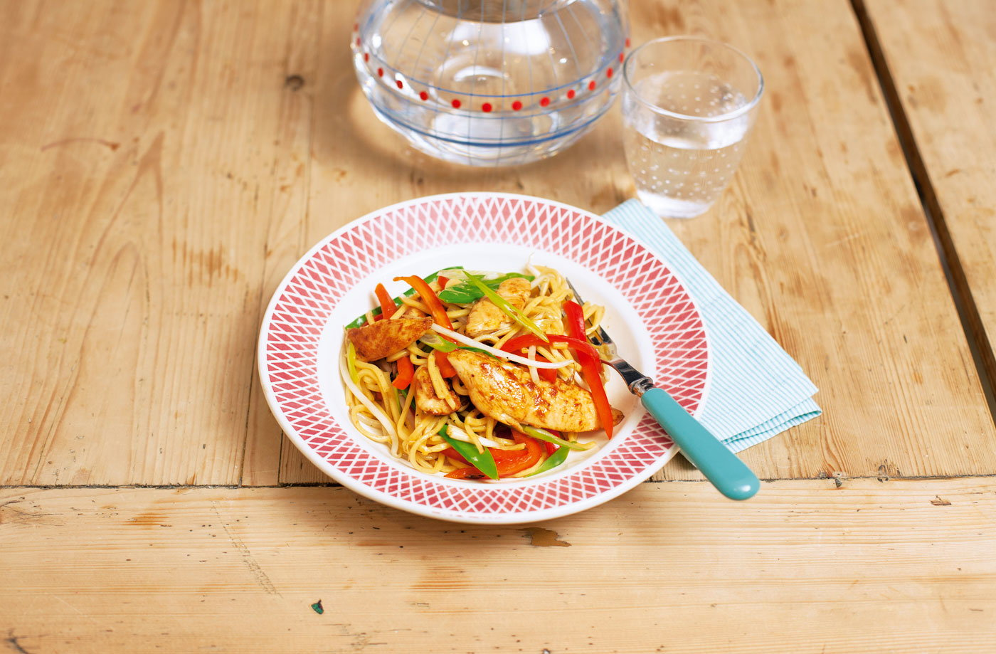 Stir-fried chicken noodles with vegetables recipe