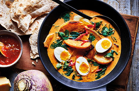 Brighten up dinnertimes with this vibrant veggie curry, made with earthy swede, tikka paste and creamy coconut milk