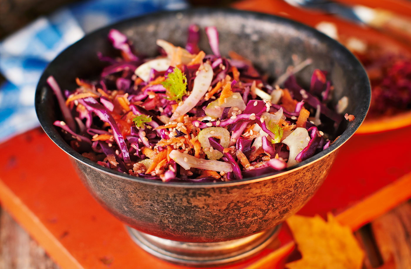Sweet cabbage slaw with ginger and sesame