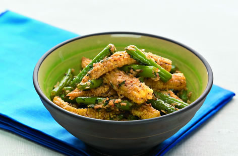 Sweetcorn and crunchy green beans