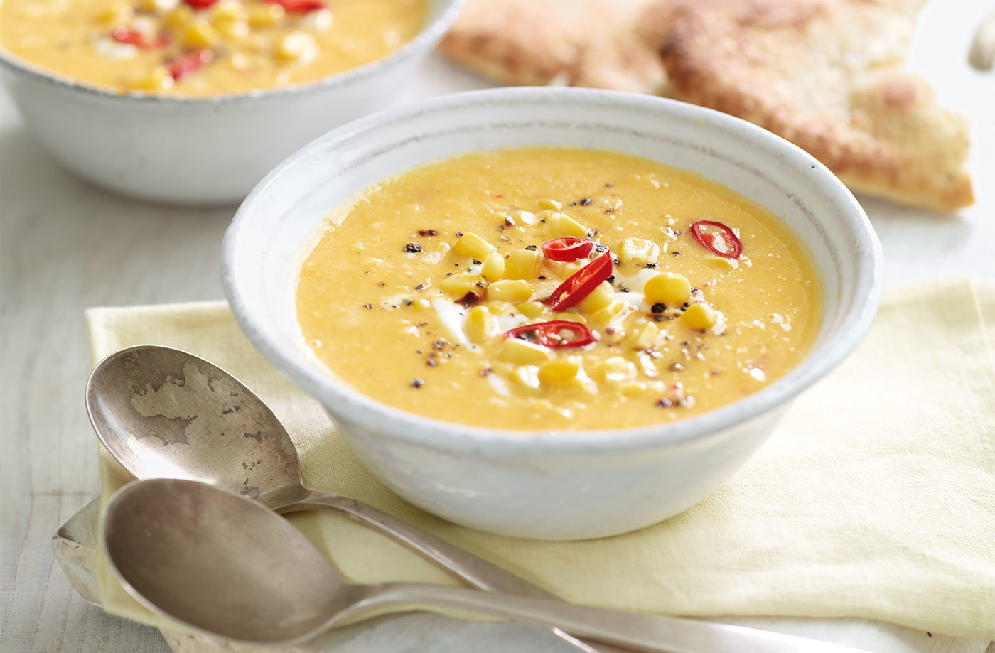 Chilled lemongrass and sweetcorn soup