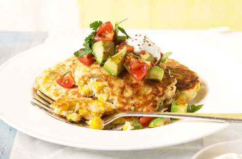 Sweetcorn fritters with avocado salsa HERO