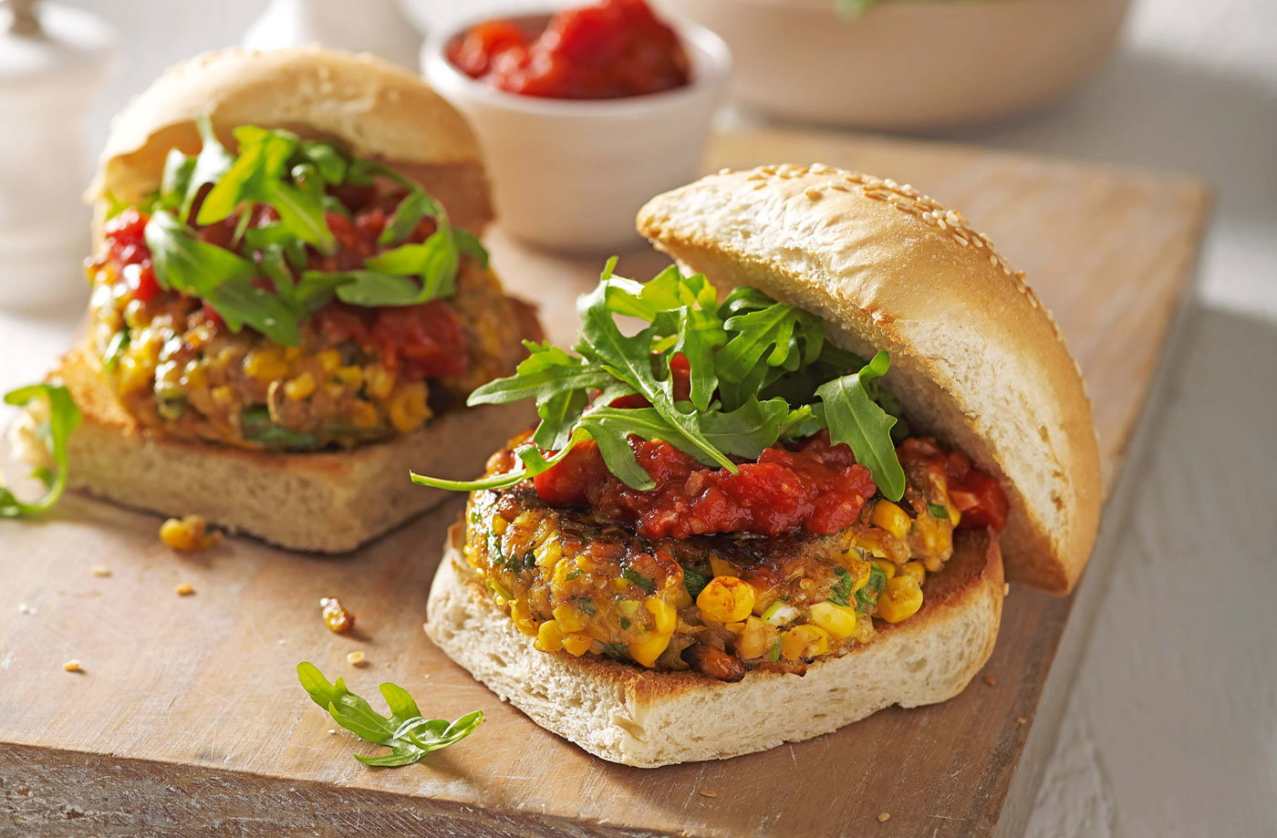 Sweetcorn and chickpea burgers with smoky tomato sauce