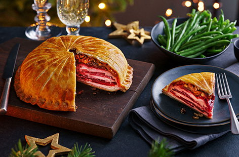 Beetroot and ricotta stacked pithivier