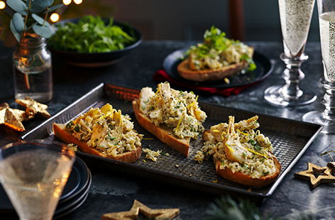 Try this artichoke bruschetta recipe for a simple Christmas starter idea. Cook jarred artichokes with lemon and plenty of fresh herbs and then pile onto crisp sourdough toasts for an easy way to begin the Christmas feast.