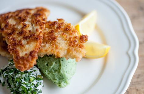 TESCO Great British Chef crumbed plaice with green mash
