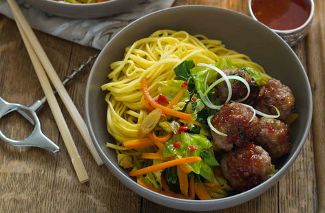 Taiwanese meatballs and noodles HERO