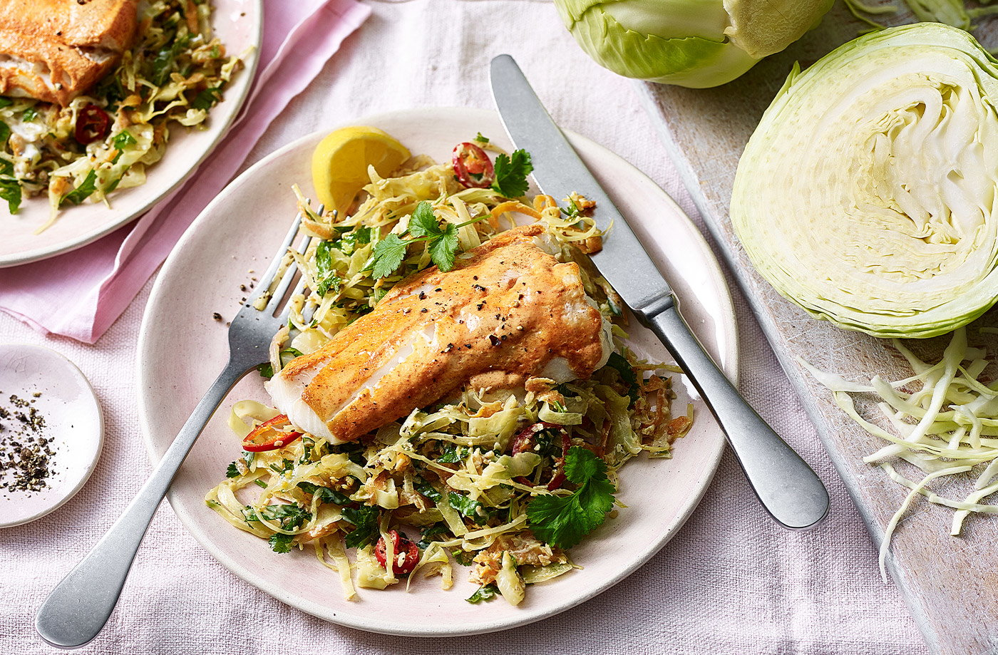 Tandoori-spiced fish with Keralan cabbage recipe
