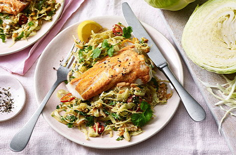 This Indian-inspired recipe for Tandoori-spiced fish with Keralan cabbage is a quick and vibrant way to spice up your mealtimes
