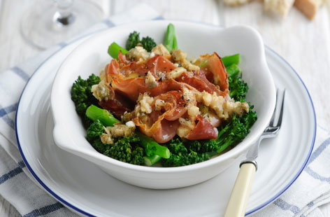 Tenderstem and crispy proscuitto with a creamy shallot and caper dressing THUMB