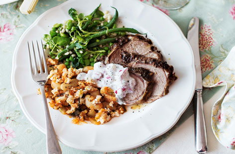 Slow-roasted Greek-style lamb with radish and mint tzatziki