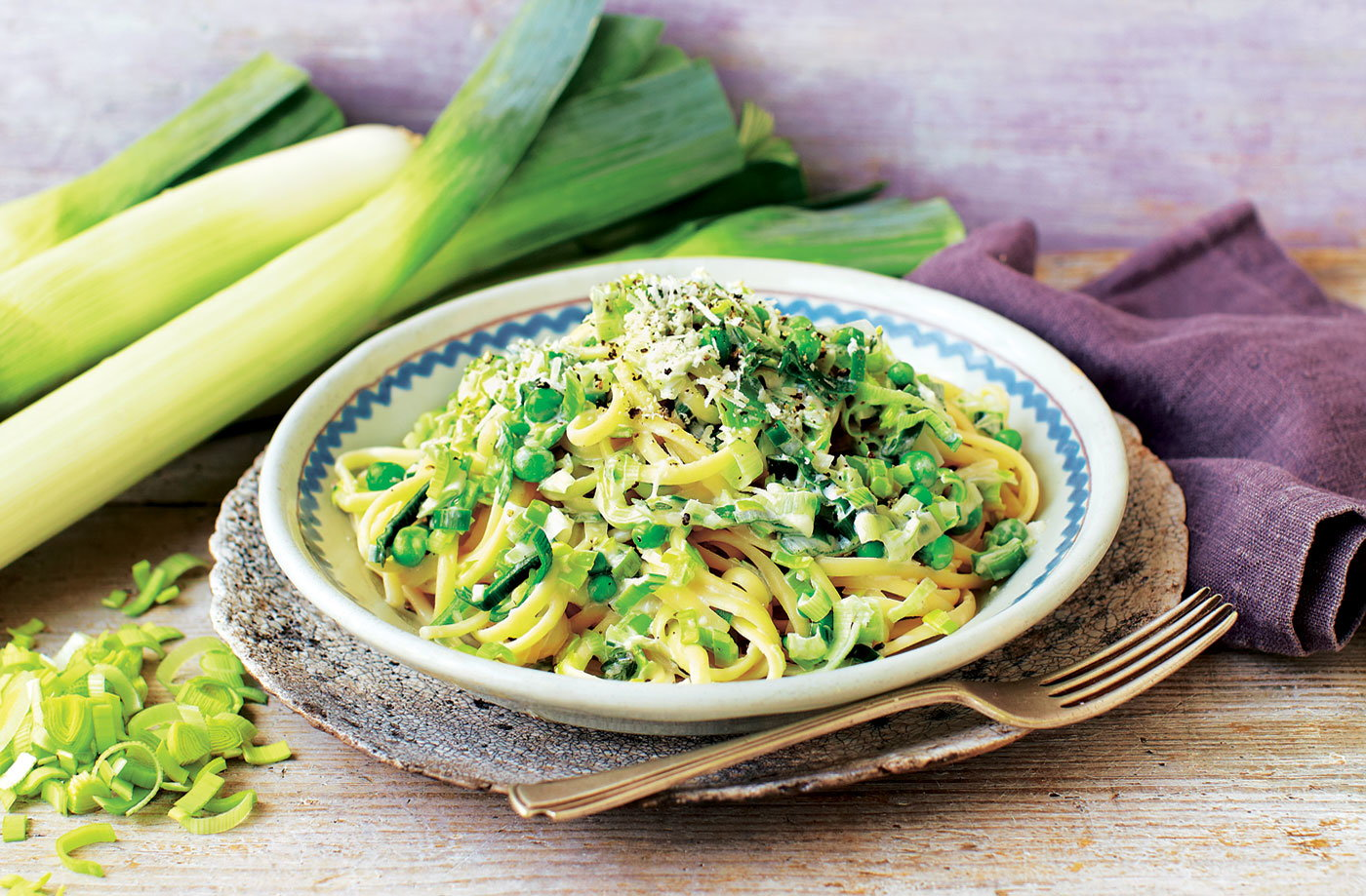 One-pot leek linguine