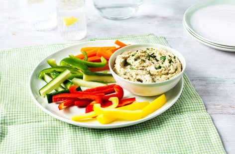 Making homemade houmous is easier than you think, you just need a stick blender or food processor. This recipe includes lime, paprika and fragrant, fresh coriander. Serve with toasted, sliced pitta bread and crudités.
