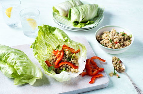 Lettuce wraps with lime, coriander and spring onion quinoa