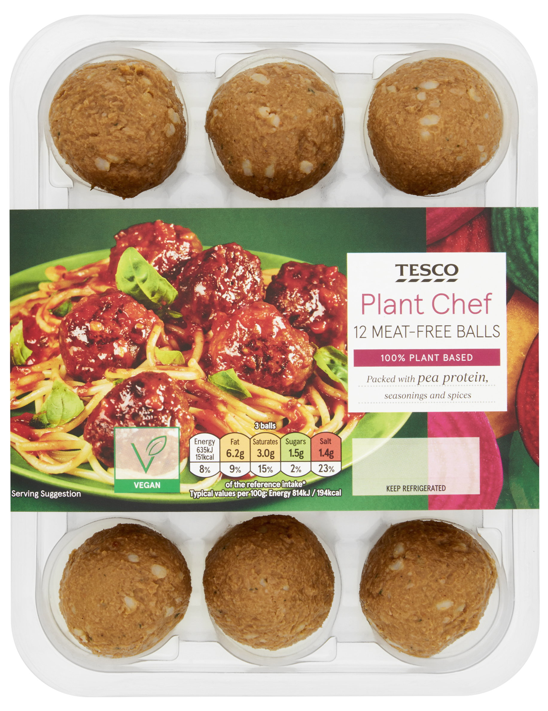 Tesco Plant Chef Meat-free BallsPacked with pea protein, seasonings and spices