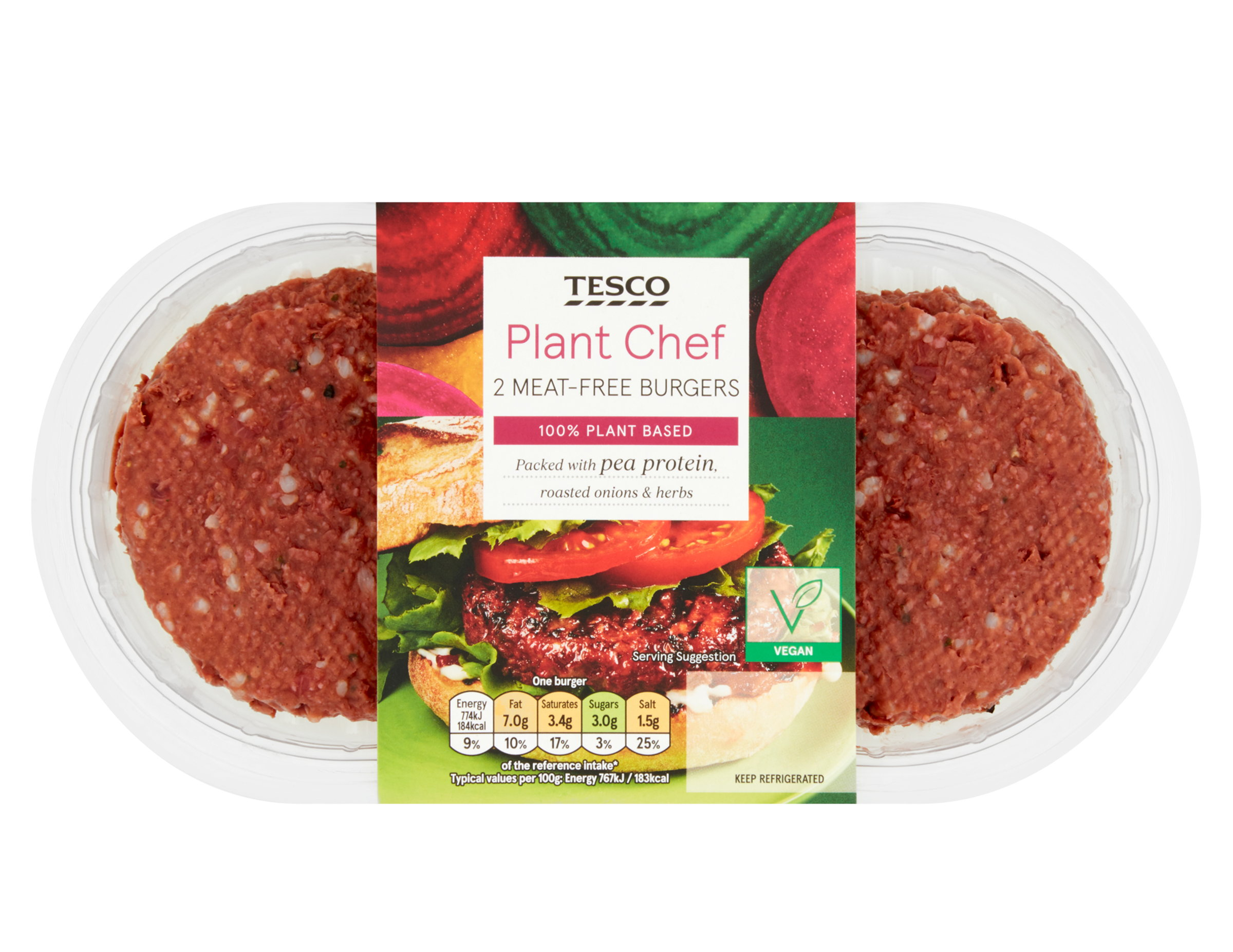Tesco Plant Chef Meat-free BurgersPacked with pea protein, roasted onions and herbs