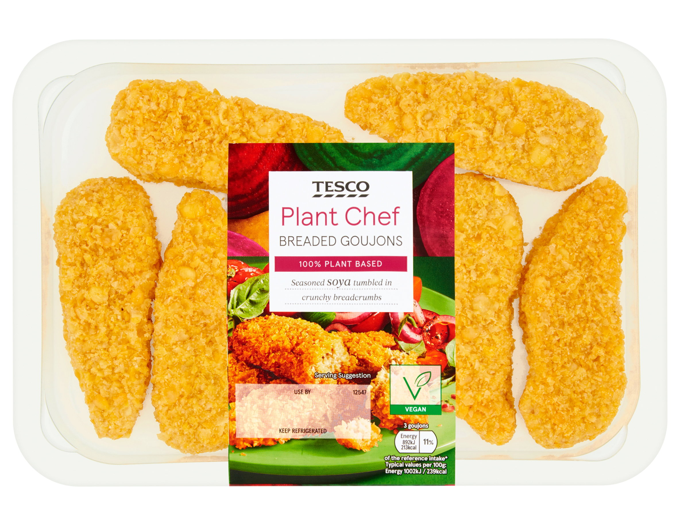 Tesco Plant Chef Breaded GoujonsSeasoned soya tumbled in crunchy breadcrumbs