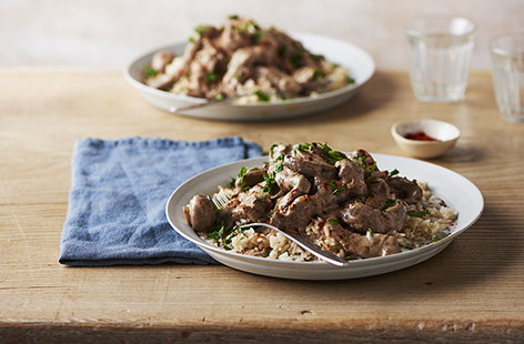 A hearty beef stroganoff makes a classic family supper, with its rich and creamy soured cream sauce and beautifully tender meat