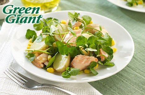Tesco Salmon Watercress and Sweetcorn Salad with a Mustard Dressing thumb