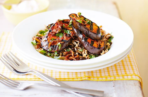 Middle Eastern rice and lentils with harissa aubergine