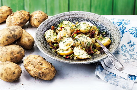 Jersey Royal potato salad with celery, fennel and pancetta
