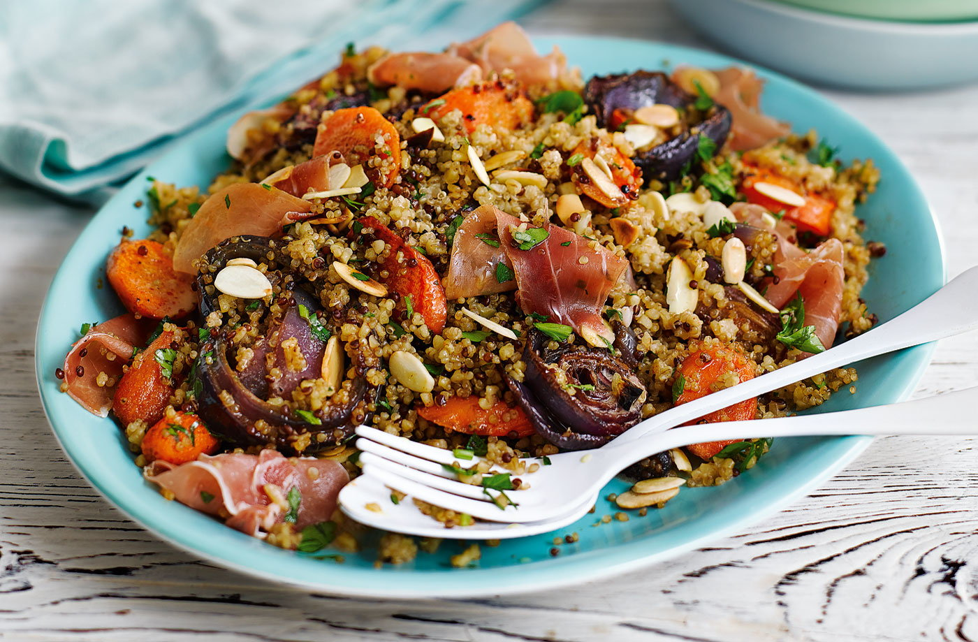 Roasted carrot quinoa with almonds and cured ham recipe