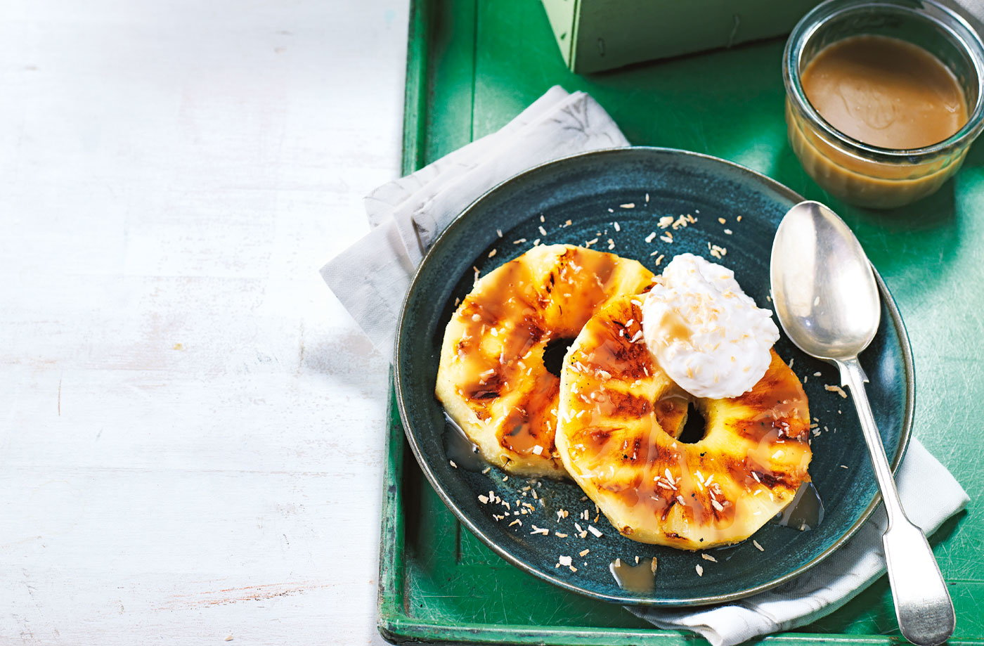 Griddled pineapple rings with coconut caramel recipe
