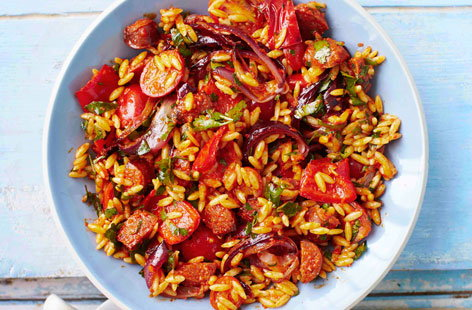 This colourful Spanish salad is packed with orzo pasta, red peppers, chorizo and cherry tomatoes.