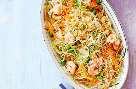 Rice noodle salad with quick kimchee