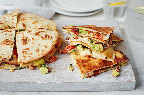 Avocado, black bean and sundried tomato quesadillas