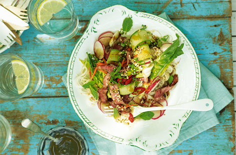 A gorgeous, summery salad packed with the aromatic flavours of Thailand. Crisp carrot, radishes, cucumber and lettuce tossed with lightly griddled sirloin steak, rice noodles and a sesame and lime dressing