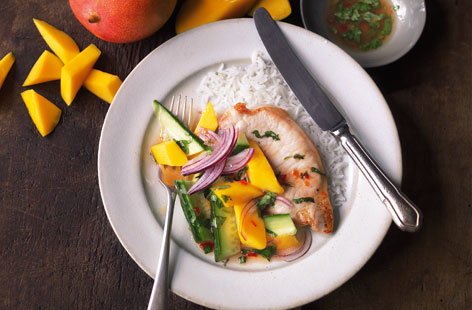 Thai pork chops with chunky mango salad HERO