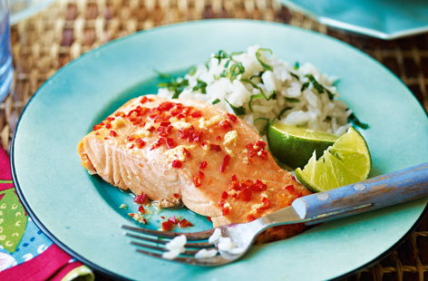 Thai salmon with coconut rice recipe
