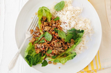 Thai turkey with lettuce and rice THUMB