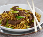 Beef and black bean chow mein