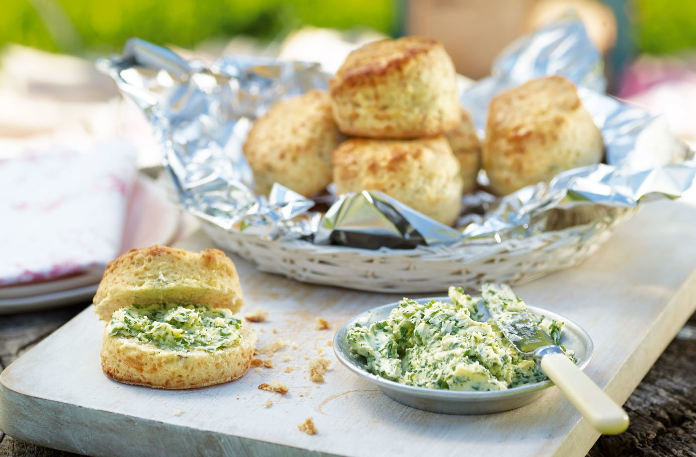 Three-cheese scones with herb butter