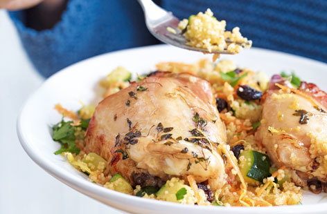 Thyme, honey and garlic roasted chicken with fruity couscous