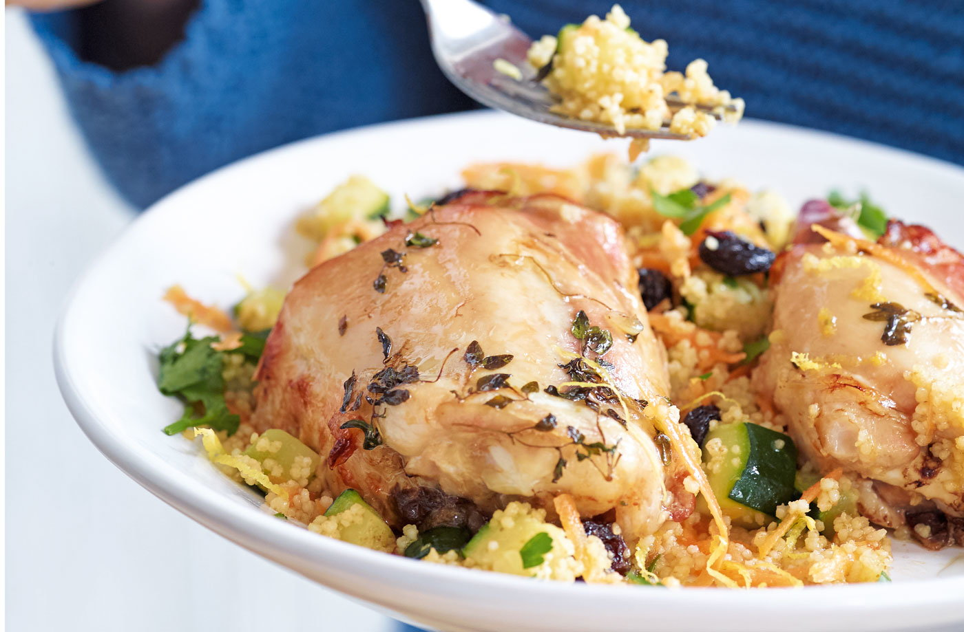 Thyme, honey and garlic roasted chicken with fruity couscous recipe