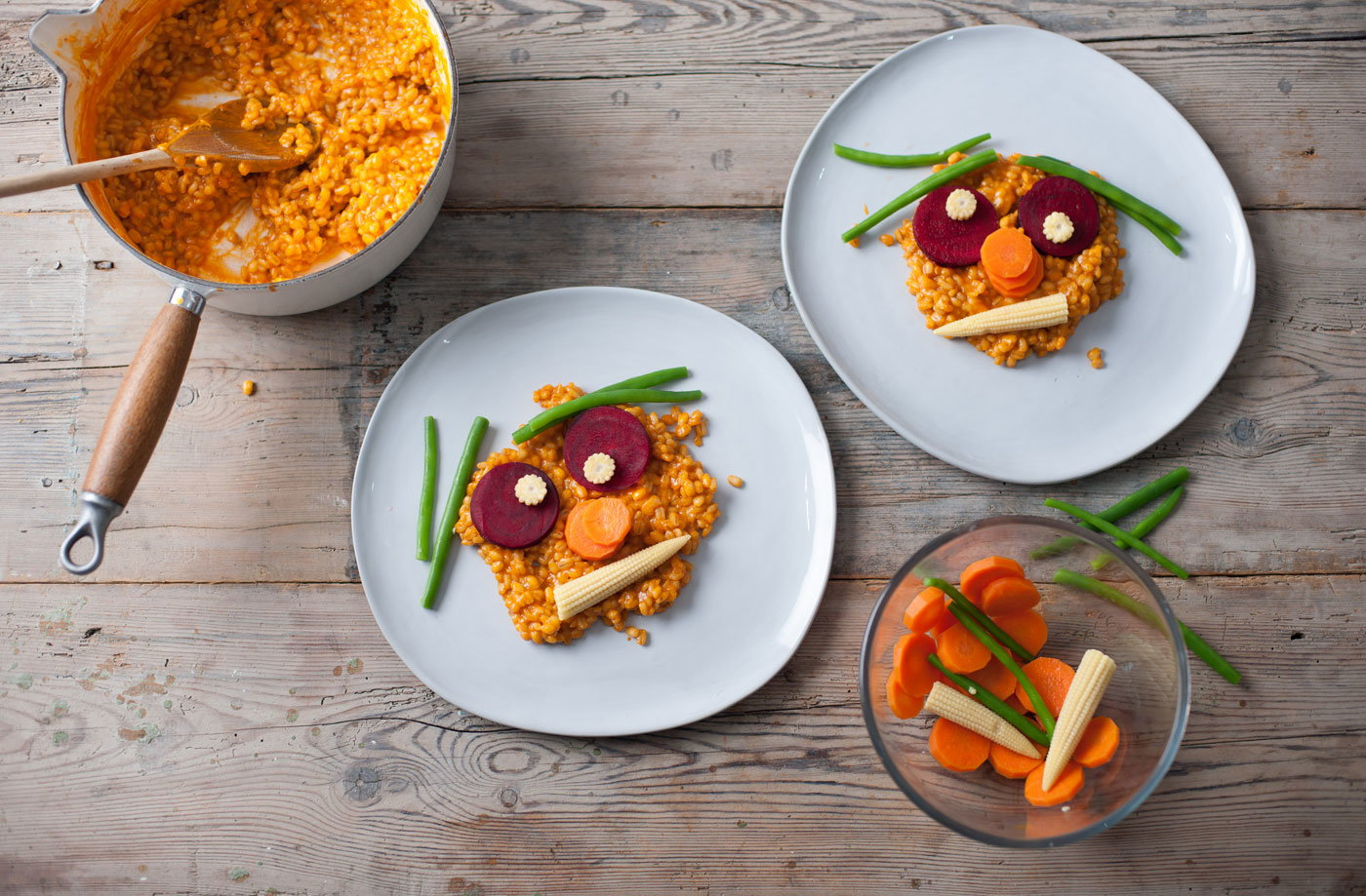 Recipes for kids meal ideas for kids tesco real food andrew mackenzies tomato and vegetable risotto faces forumfinder Gallery
