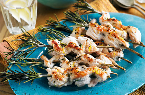 Turkey and rosemary skewers