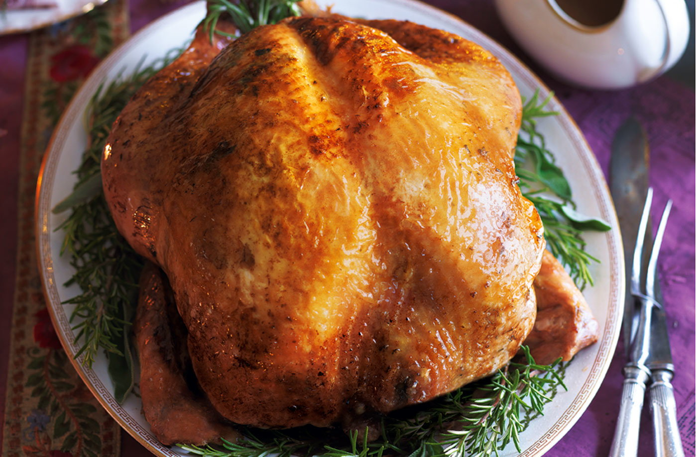 Roast turkey with rosemary butter and Marsala gravy