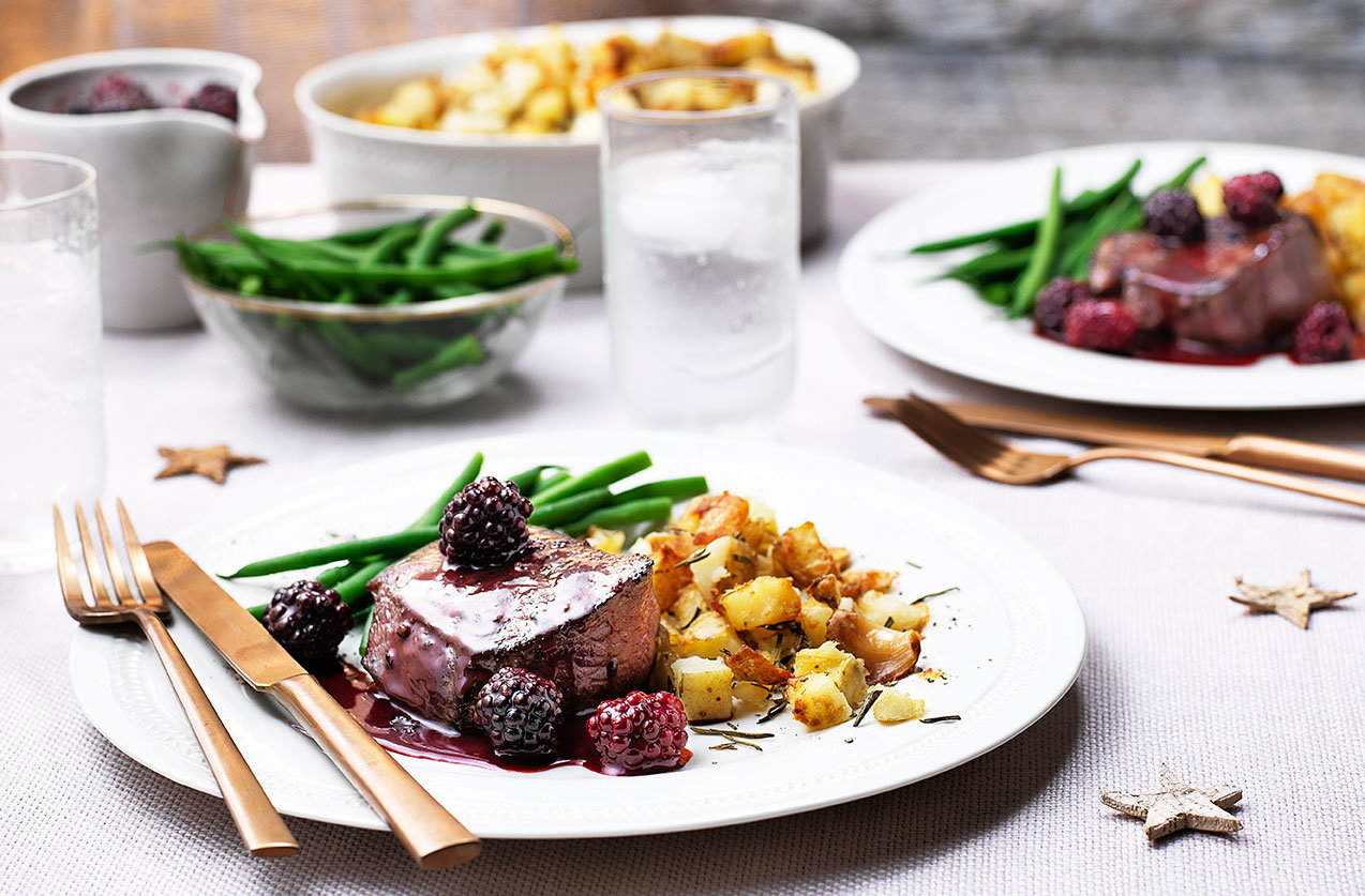 Venison steaks with blackberry and sloe gin sauce