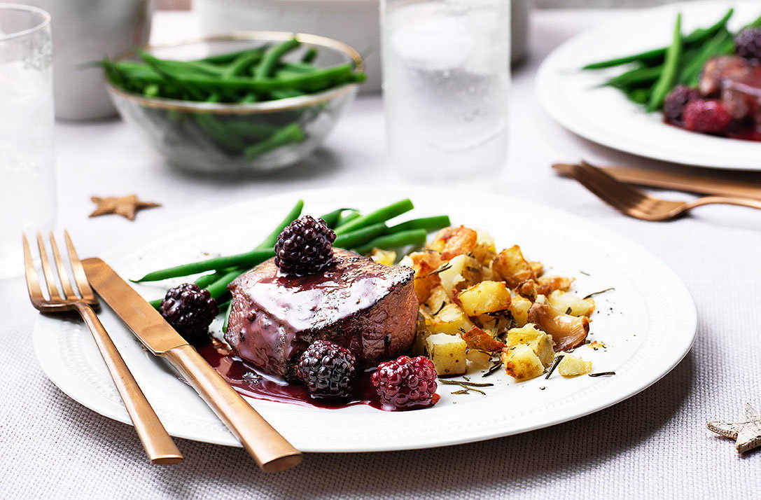 10 finest main course recipes tesco real food venison steaks with blackberry and sloe gin sauce forumfinder Gallery