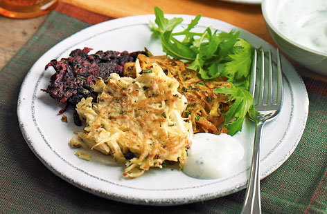 These root vegetable fritters are simple to make and are an excellent way to use up leftover beetroot, carrot or parsnip